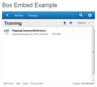 Once you have embedded the Box code, students will see a list of all files in your Box folder.