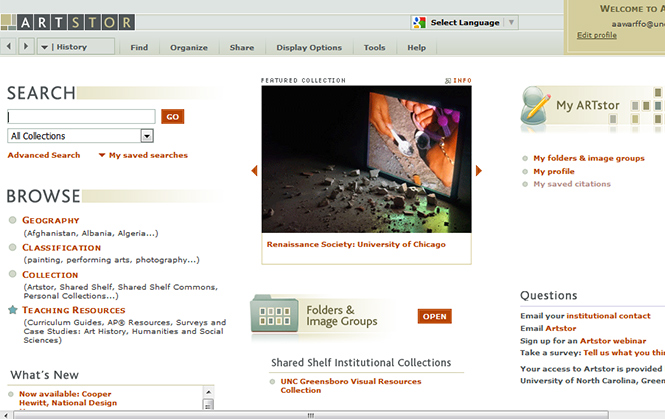 Your ArtStor account will have a search bar on the left as well as a featured collection in the center of the page.