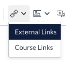Link icon contains external links and course links