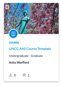 Card titled UNCG AAS Course Template